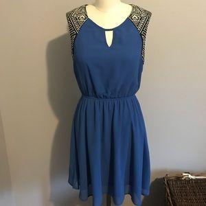 Forever 21 Royal Blue Geo Trim Dress